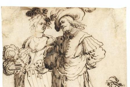 ECOLE LORRAINE du XVIIème siècle       :   Couple d'élégants