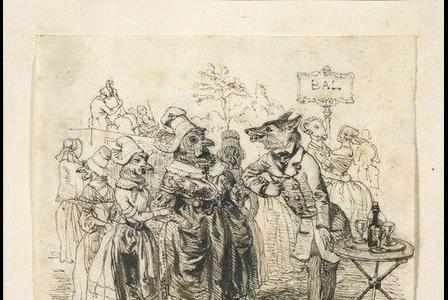 Jean-Jacques-Isidore GRANDVILLE       :   Il faut amadouer la poule pour avoir les poussins