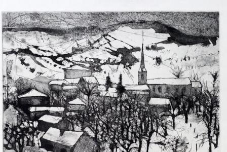 Jacques HALLEZ       :   Les vergers sous la neige