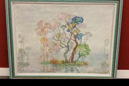 Charles PECCATTE       :  Bord de rivière aux grands arbres en fleurs