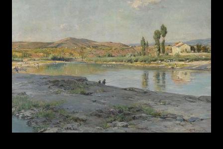 Georges-Pierre SERRIER       :   Flusslandschaft mit angler